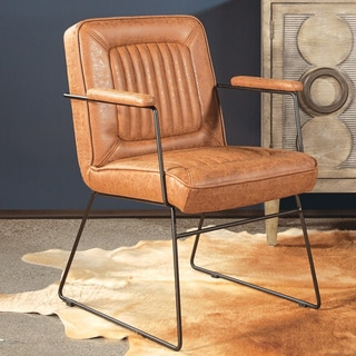 Shop Mid Century Black Faux Leather Chair Free Shipping