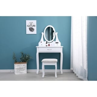 Adele Traditional French-Style Makeup Table with Swivel Mirror