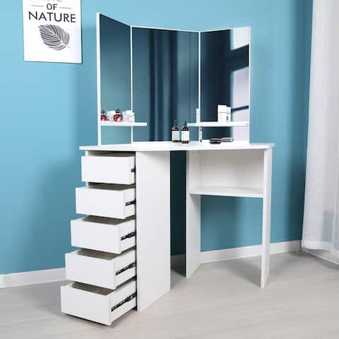 Victoria Corner Makeup Table With Mirror And Integrated Storage