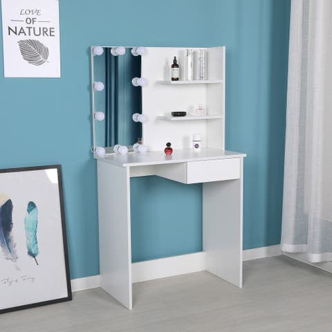 Felicia - Dressing Room Style Makeup Table with Built-In Lights