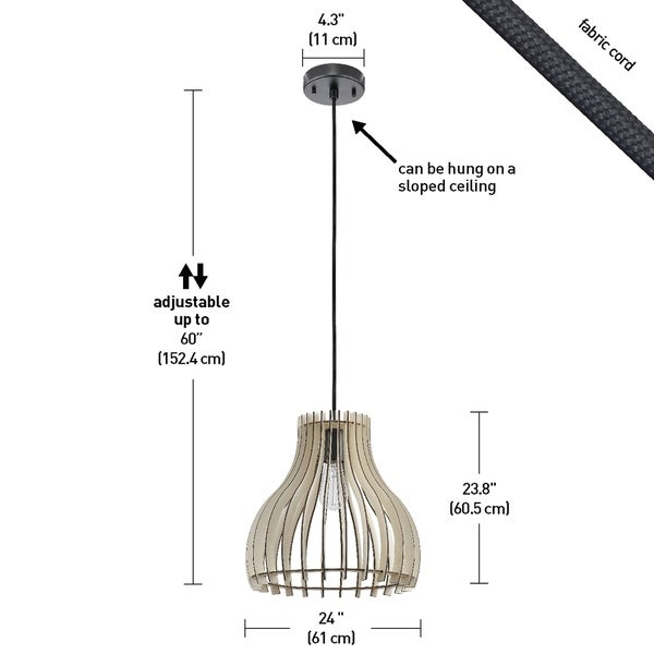 The Curated Nomad Novigrad Natural Wood Shade 1-light Pendant