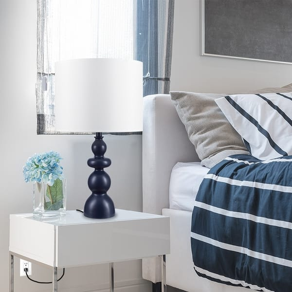 Shop The Curated Nomad Bourney 25-inch Navy Blue Table Lamp ...