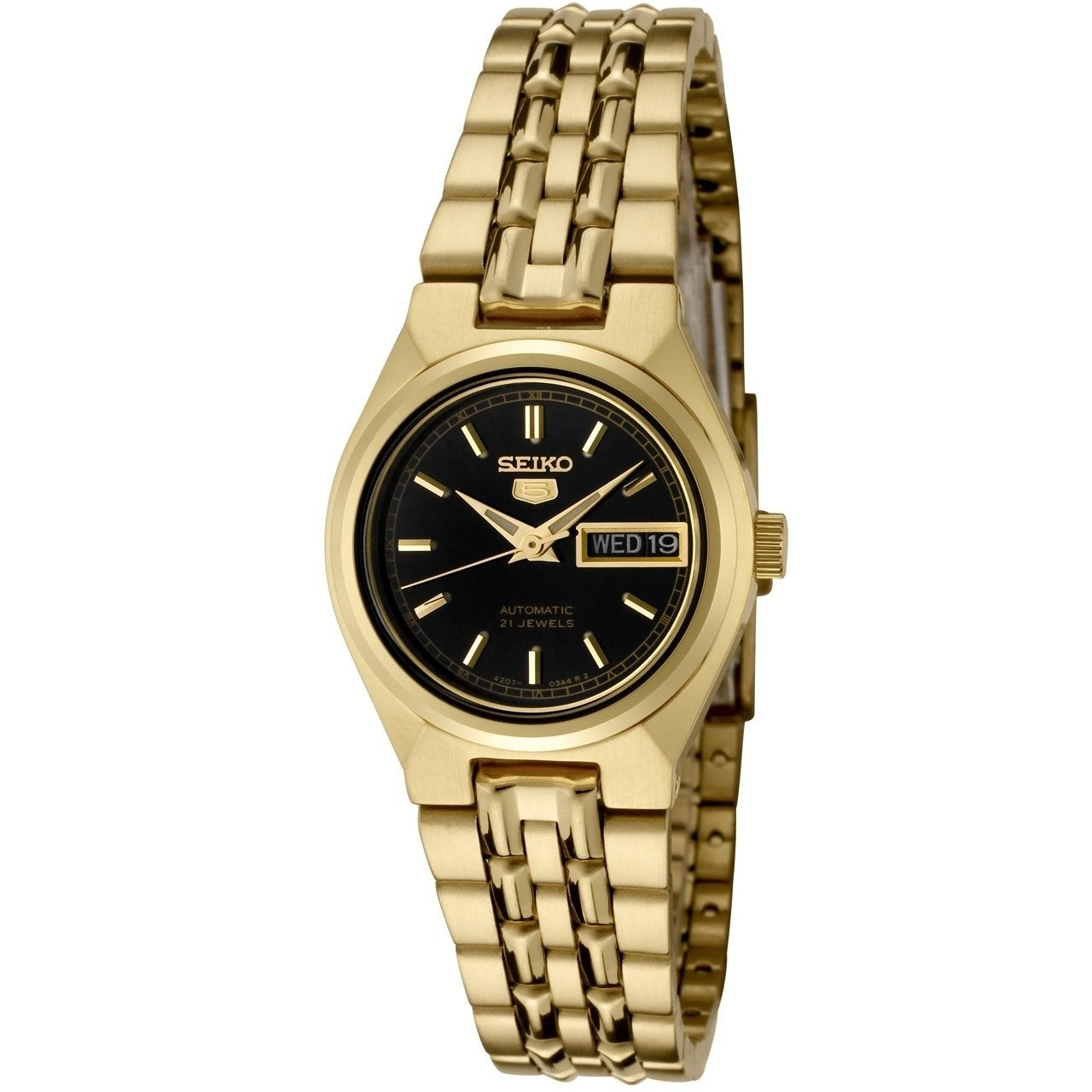Shop Seiko 5 Automatic Gold Tone Ladies Watch Syma06k1 Overstock 27871763