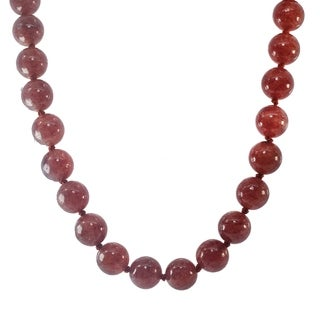 Michael Valitutti Palladium Silver Strawberry Quartz Bead Necklace
