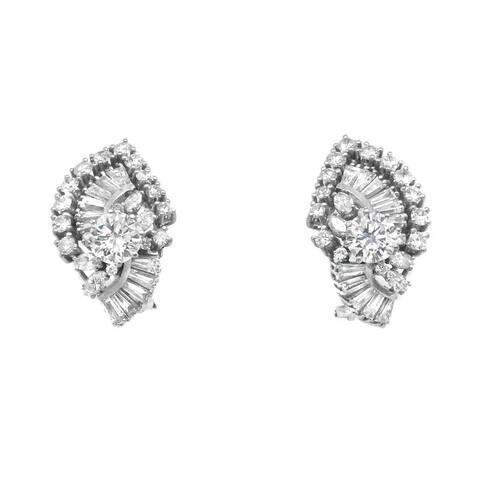18K White Gold 5ct TDW Diamond Vintage Cluster Earrings (H-I,VS1-VS2)