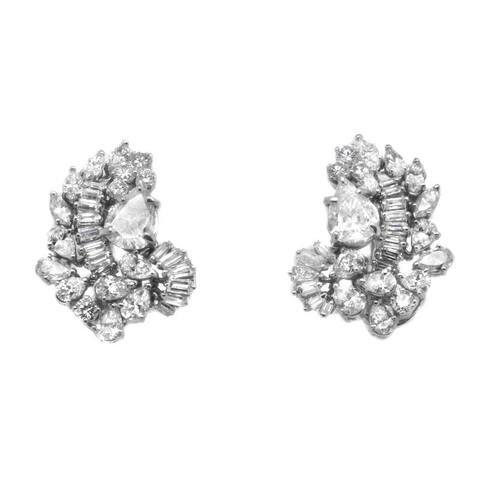 Platinum 5ct TDW Diamond Vintage Cluster Earrings (K-L,SI1-SI2)