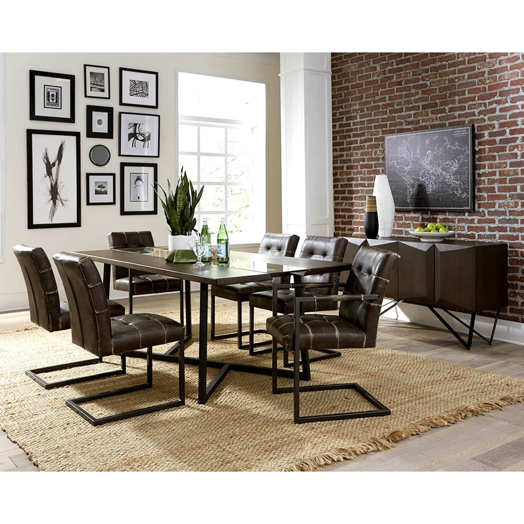 Modern Design Live Edge and Glass Dining Set with Buffet Server