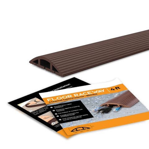 Floor Cord Protector Covers Cables, Cords, or Wires - 3 Channel for Sidewalks or Walkways, for Home or Office Doorways 4 Ft
