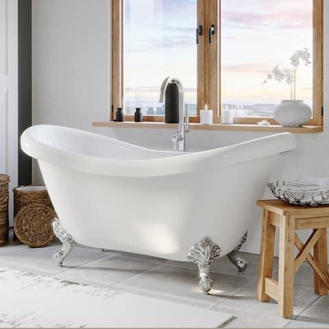 Double Slipper Clawfoot Tub, Polished Chrome Plumbing and feet - 29.5 x 68.8