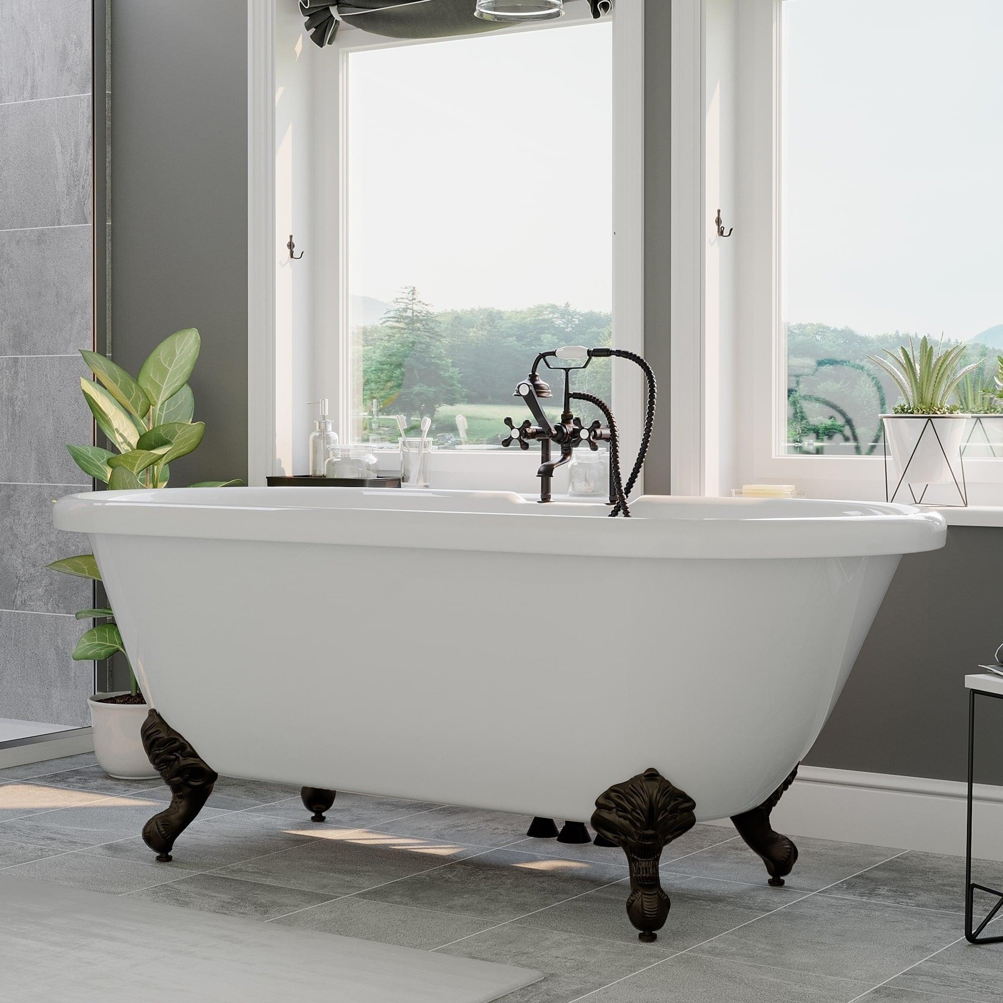 Acrylic Double Ended Clawfoot Bathtub 60 X 29 Deck Holes