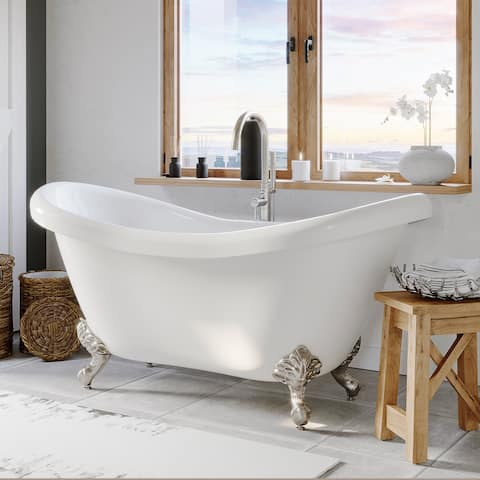 Double Slipper Clawfoot Tub, Brushed Nickel Plumbing and Feet - 29.5 x 68.8
