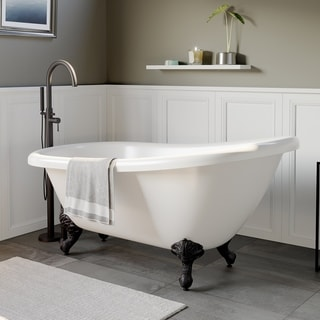 "Acrylic Slipper Tub, 28"" x 61"" Oil Rubbed Bronze Feet and Plumbing - 28.75 x 61.25"