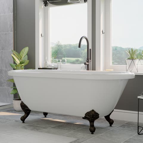 """Acrylic Double Ended Clawfoot Bathtub 60"""" X 30"""" with No Faucet Drillings and Oil Rubbed Bronze Feet - 29 x 59.25"""