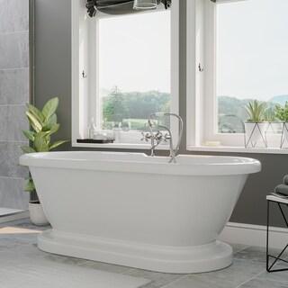 """Acrylic Double Ended Pedestal Bathtub 60"""" X 29"""" Deck Holes - 29 x 59.25"""