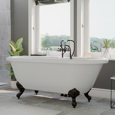 "Acrylic Double Ended Clawfoot Bathtub 70"" X 30"" Deck Holes ORB Feet - 30 x 70"