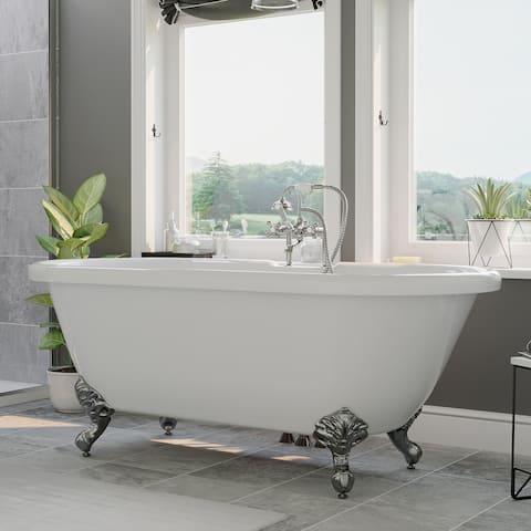 """Acrylic Double Ended Clawfoot Bathtub 70"""" X 30"""" Deck Holes Chrome Feet - 30 x 70"""