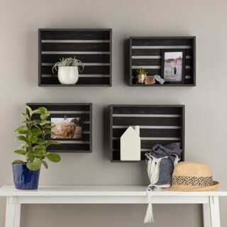Gallery Solutions Rustic Wood Crate Wall Storage Set of Four