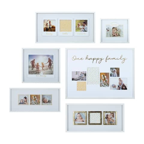 6 Pc Multi Size White and Gold Gallery Wall Photo Frame Set