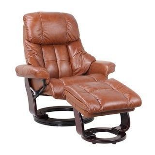 Copper Grove Genis Leather Recliner and Ottoman