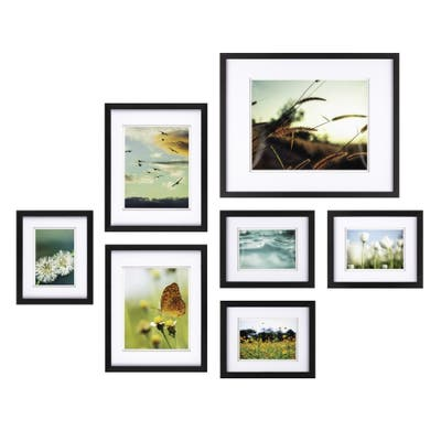 7pc Build A Gallery Wall Photo Frame Set with Decorative Art Prints