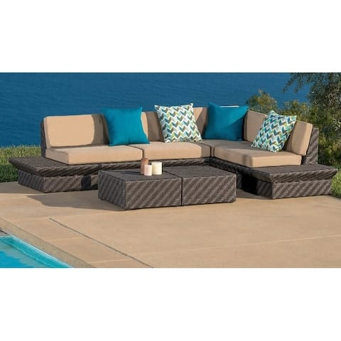 Acadia 6-Piece All-Weather Wicker Sectional with Sunbrella Cushions by Ace Evert Inc.
