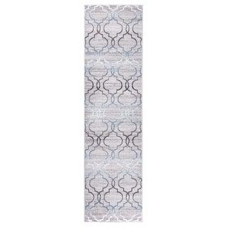 "GAD DAISY Collection Quatrefoil Premium Geometric Gray Area Rug - 2'2"" X 7'10"""