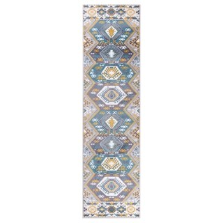 "GAD MARIGOLD Collection Peace Stylish Southwestern Classic Blue Rug - 2'2"" X 7'10"""