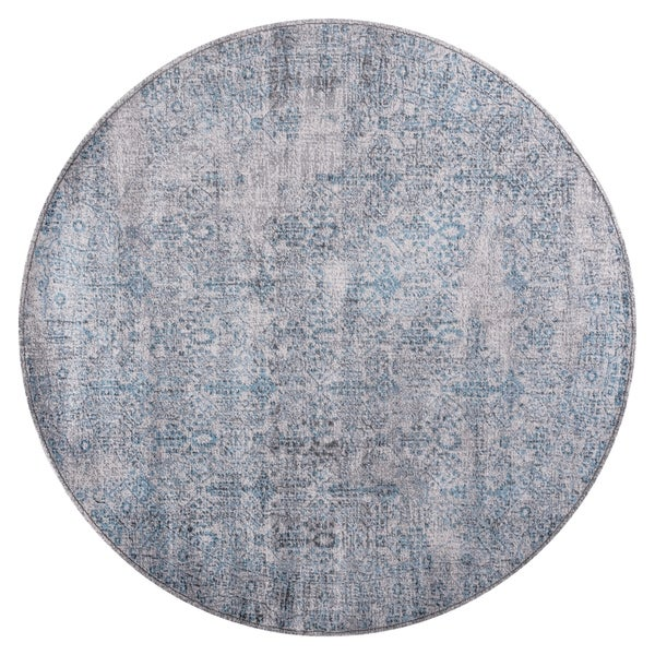 GAD DAISY Collection Garden Stylish Classic/Transional L.Gray/Blue Rug - 7'R