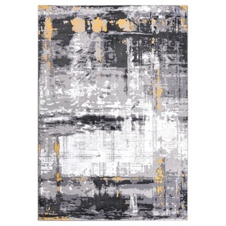 """GAD DAISY Collection Spatter Beautiful Transional Gray/Yellow Area Rug - 7'10"""" X 10'2"""""""