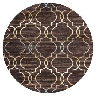 GAD DAISY Collection Quatrefoil Premium Geometric Brown Area Rug - 7'R