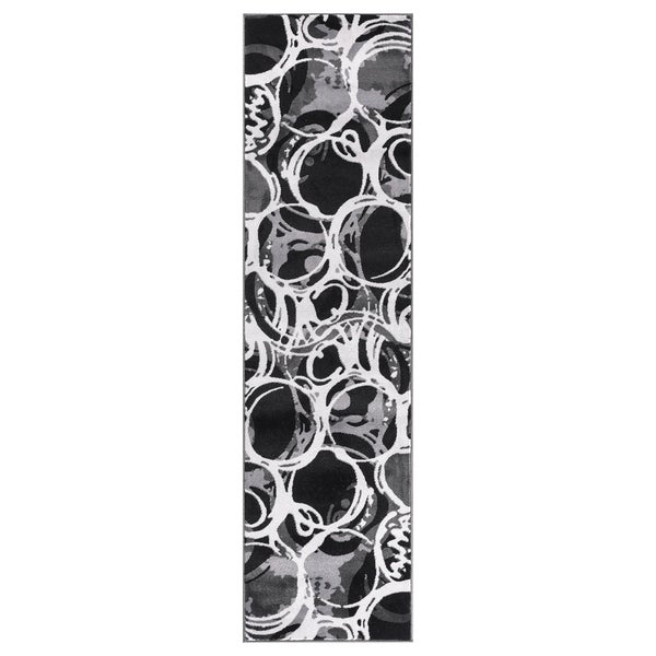 """GAD PRIMROSE Collection Motion Beautiful Transional Gray Area Rug - 2'2"""" X 7'10"""""""