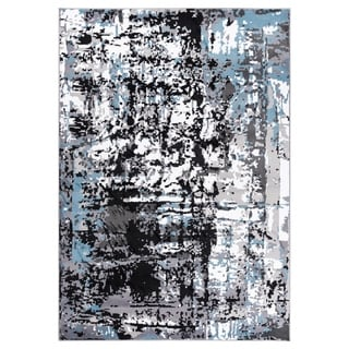 """GAD DAISY  Collection Agate Beautiful Transional Blue / Gray Area Rug - 7'10"""" X 10'2"""""""