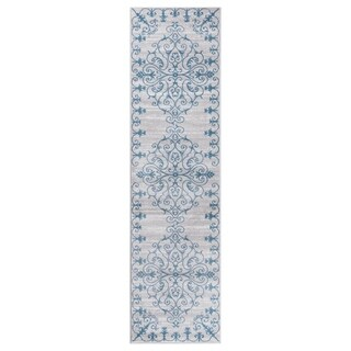 "GAD MARIGOLD Collection Tranquil Stylish Transional Gray Blue Area Rug - 2'2"" X 7'10"""