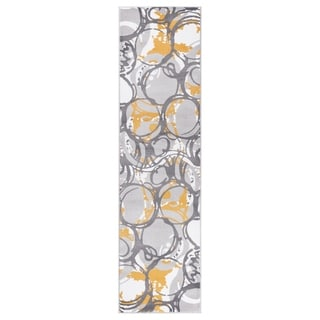 """GAD PRIMROSE Collection Motion Beautiful Transional Yellow Area Rug - 2'2"""" X 7'10"""""""