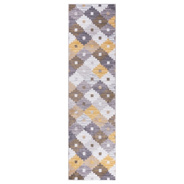"""GAD PRIMROSE Collection Quilt Stylish Transional Quilt Yellow Area Rug - 2'2"""" X 7'10"""""""