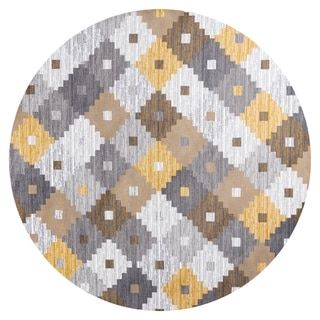 GAD PRIMROSE Collection Quilt Stylish Transional Quilt Yellow Area Rug - 7'R