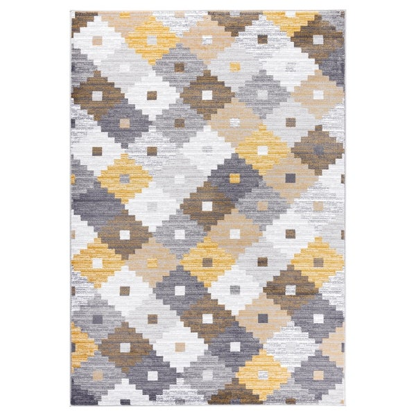 """GAD PRIMROSE Collection Quilt Stylish Transional Quilt Yellow Area Rug - 5'3"""" X 7'6"""""""