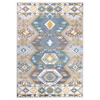 "GAD MARIGOLD Collection Peace Stylish Southwestern Classic Blue Rug - 7'10"" X 10'2"""