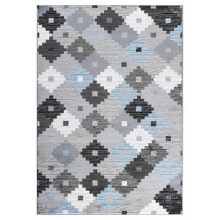 "GAD PRIMROSE Collection Quilt Beautiful Transional Quilt Gray Area Rug - 2'2"" X 3'"