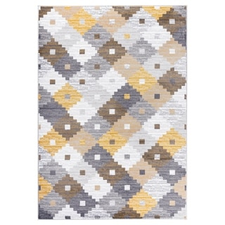 """GAD PRIMROSE Collection Quilt Stylish Transional Quilt Yellow Area Rug - 2'2"""" X 3'"""
