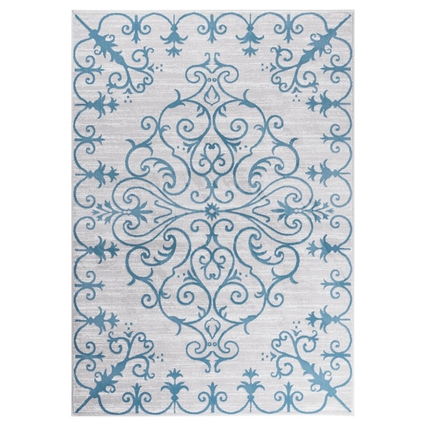 "GAD MARIGOLD Collection Tranquil Stylish Transional Gray Blue Area Rug - 5'3"" X 7'6"""