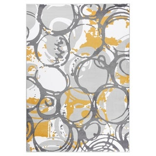 """GAD PRIMROSE Collection Motion Beautiful Transional Yellow Area Rug - 5'3"""" X 7'6"""""""