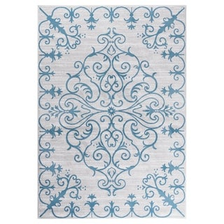 "GAD MARIGOLD Collection Tranquil Stylish Transional Gray Blue Area Rug - 7'10"" X 10'2"""