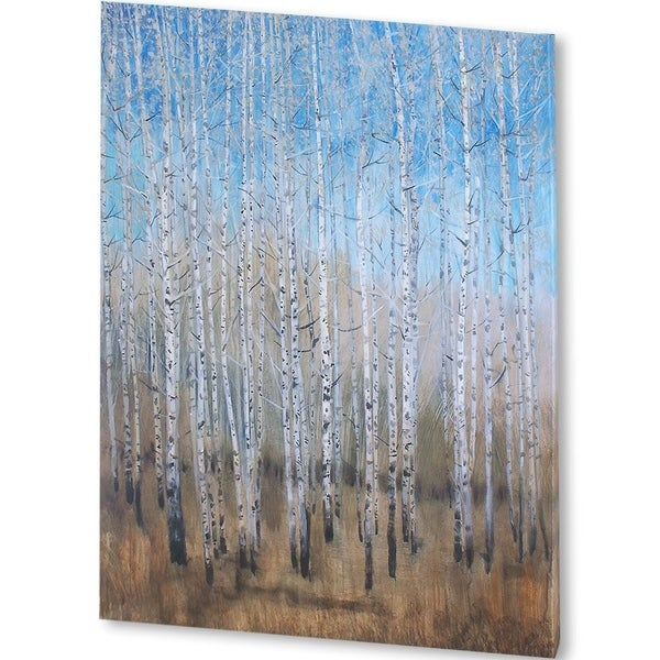 Mercana Dusty Blue Birches II (44 X 56) Made to Order Canvas Art
