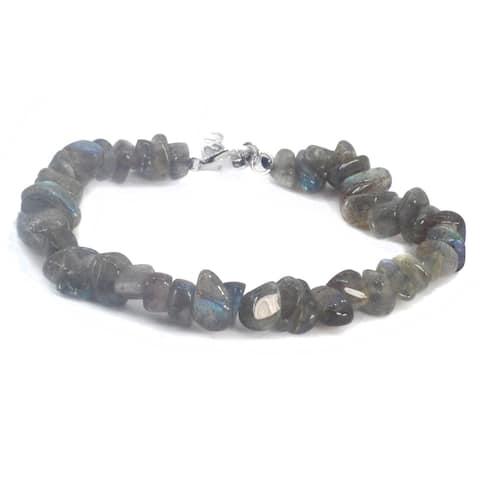 Gems en Vogue Palladium Silver Labradorite Tumble Bead Bracelet
