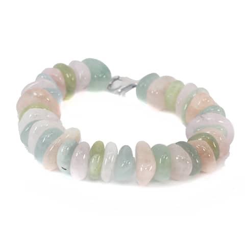 Michael Valitutti Palladium Silver Multi Color Beryl Tumble Bead Bracelet