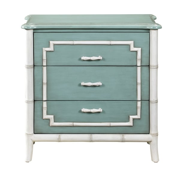Seafoam/White Wood Faux Bamboo Trim 3-drawer Chest