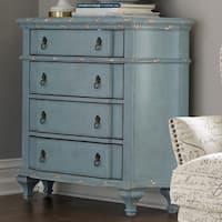 Distressed French Blue Wood 4-drawer Accent Chest