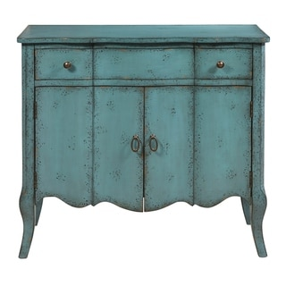 Two Door Accent Chest in Distressed Turquoise Blue
