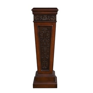 Brown Wood Faux Metal Inlay Accent Pedestal